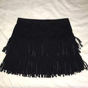 XS Black Hollister Suede Fringe Skirt